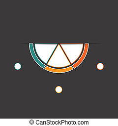 Black background infographic colorful semicircle 3 positions...
