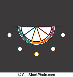 Black background infographic colorful semicircle 5 positions...