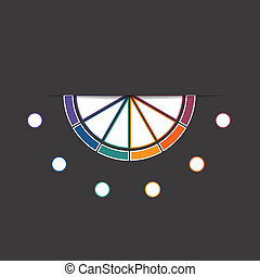 Black background infographic colorful semicircle 6 positions...