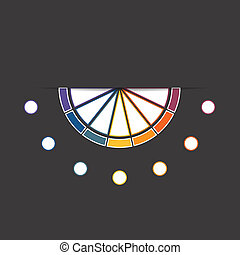 Black background infographic colorful semicircle 7 positions...