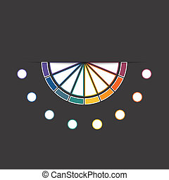 Black background infographic colorful semicircle 8 positions...