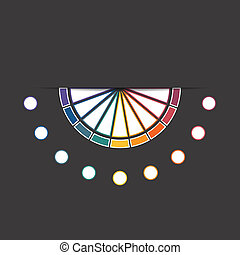 Black background infographic colorful semicircle 9 positions...