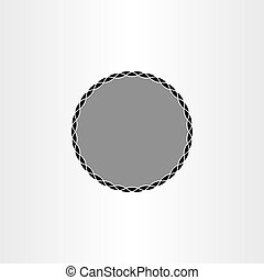 black background label circle vector frame design