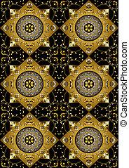 Black background of gold rhombus wi