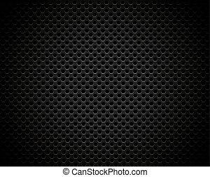 Black background of hexagonal pattern texture
