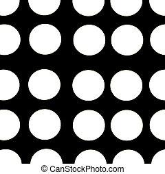 black background white polka dots