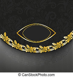 Black background with a gilded frame