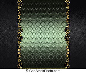 Black background with a green name plate with patterns on...