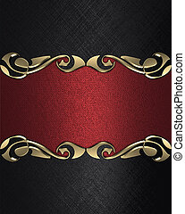 Black background with a red name plate with patterns -...