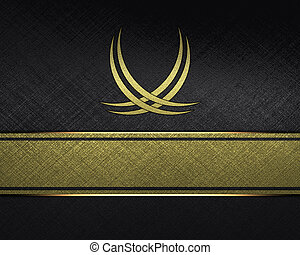black Background with abstract pattern and gold name plate...