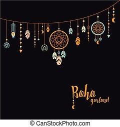 Black background with boho garland