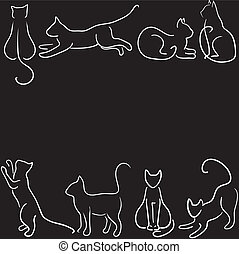 cat silhouette border