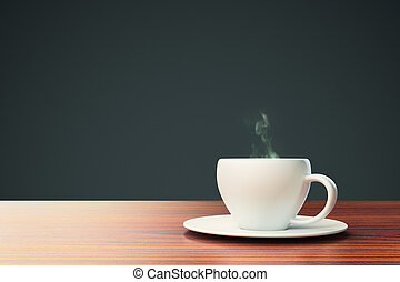 black background with coffee cup and place for your text