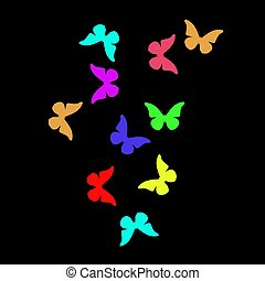 black background with colorful butterflies
