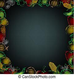 Black Background With Drawn Vegetables Border