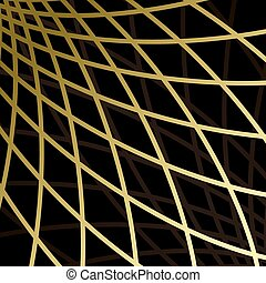 black background with gold grid - vector