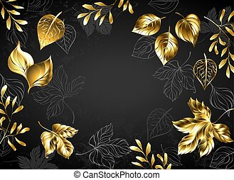 Black background with gold leaves