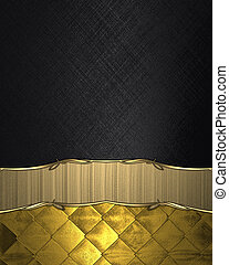 Black background with gold ribbon. Element for design....