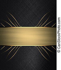 Black background with gold ribbon. Design template