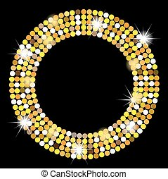 black background with gold spangles