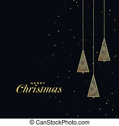 black background with golden christmas tree design
