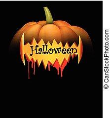 Black background with halloween pumpkin.