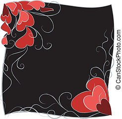 Black background with hearts.