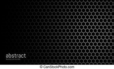 black background with hexagonal mesh pattern design