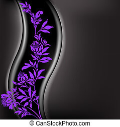 Black background with lilac branch