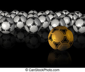 black background with much soccer ball