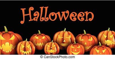 Black background with orange halloween pumpkins.