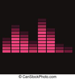 black background with red equalizer