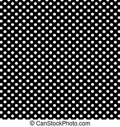 Black background with white polka dots pattern