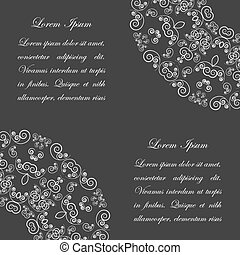 Black background with white vintage ornate pattern