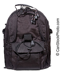 black backpack on white background