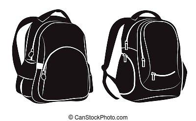 Black Backpacks on white background