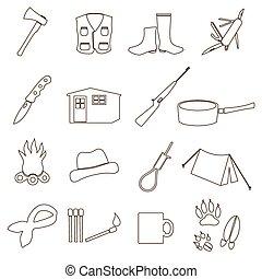 black backwoodsman simple outline icon set eps10