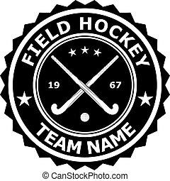 Black badge emblem desizhn for the team field hockey. Vector...