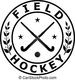 Black badge emblem for the team field hockey on a white...