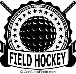 Black badge field hockey on a white background . Vector illustration