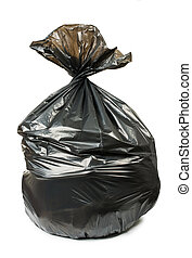 Black bag of rubbish. White isolated studio shot.