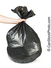Black bag of rubbish - Hand holding black bag of rubbish....