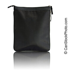 black bag with zipper isolated on white background