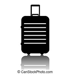 Black baggage icon. Vector illustration with shadow