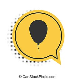 Black Balloon with ribbon icon isolated on white background. Yellow speech bubble symbol. Vector