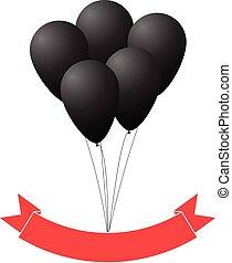 Black balloons and red ribbon