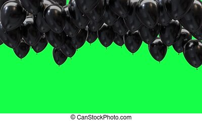 black balloons on the ceiling on a green screen background in 4k