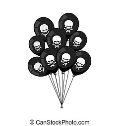 Black balloons. Skull with bones. Mourning, sad party accessories