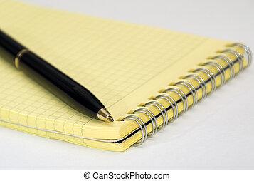 Black ballpoint pen and notebook