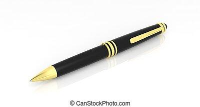 Black ballpoint pen on white background. 3d illustration